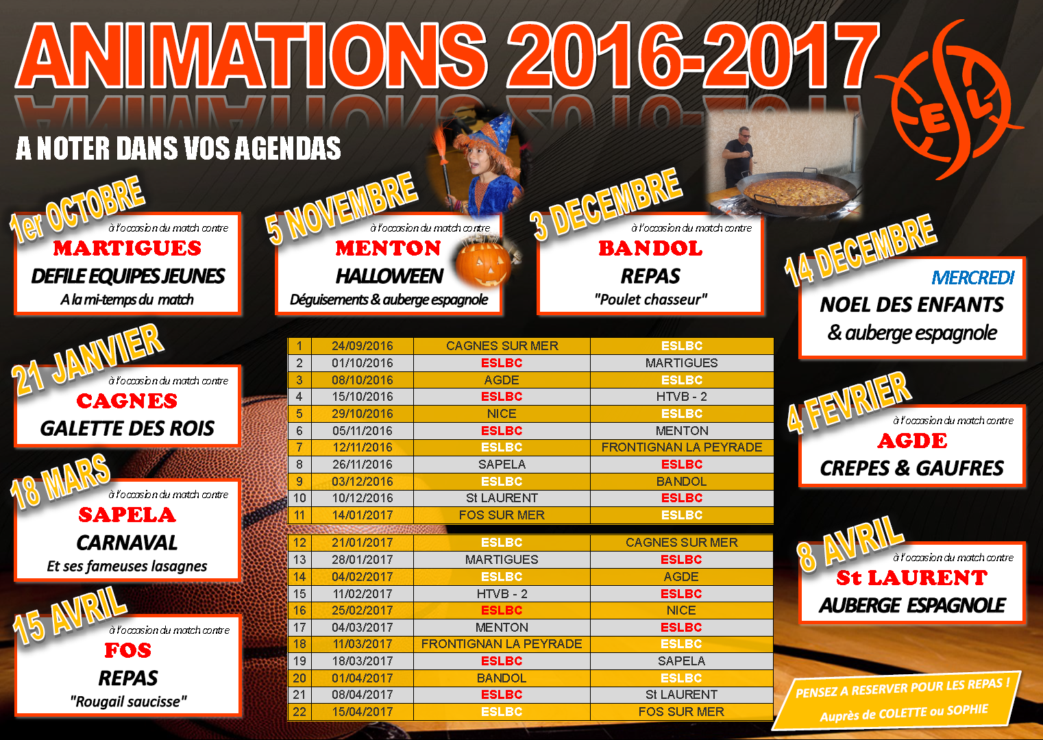 Animations de la saison 2016-2017
